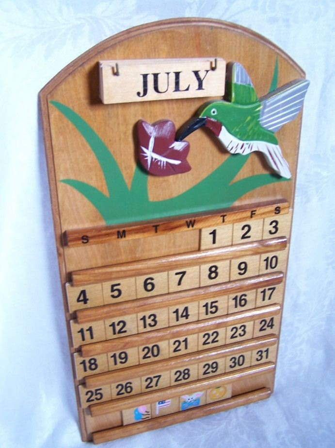 Vintage Wooden Perpetual Calendar Wall Hanging By Endlessc