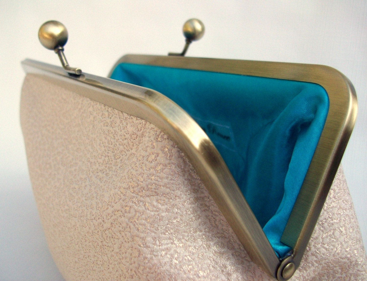 Creamy Golden and Turquoise Vintage Style Clutch Purse