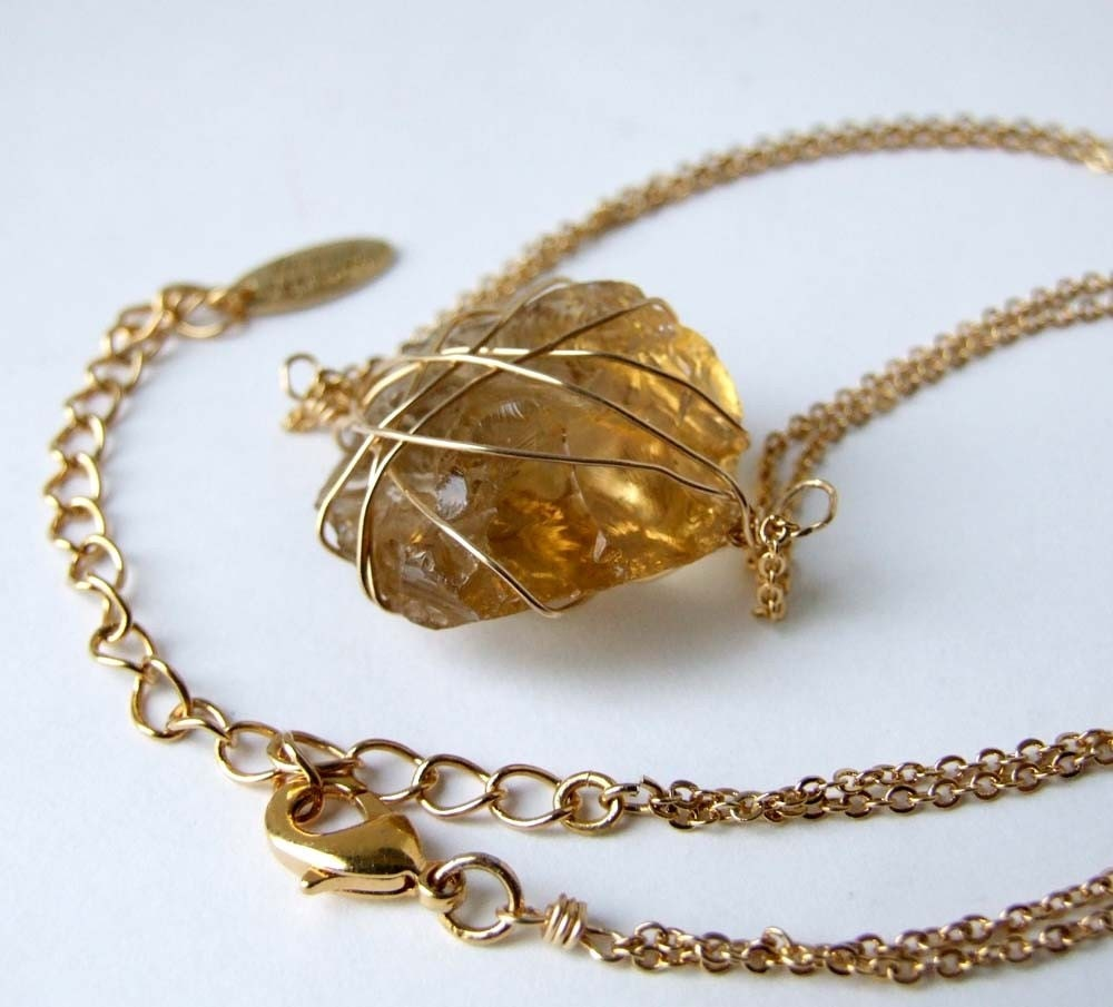 Crush - one of a kind smoky topaz rough nugget wrapped in gold filled wire