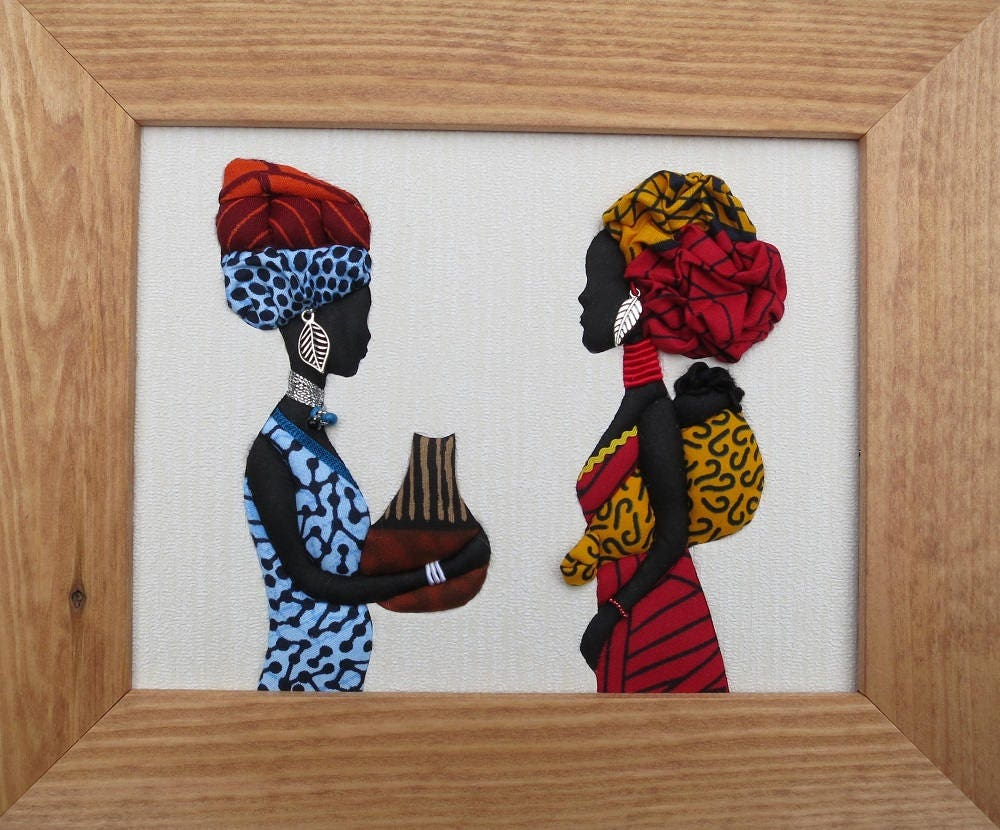 African Art  Textile Picture  African Wax  Ethnic Gift