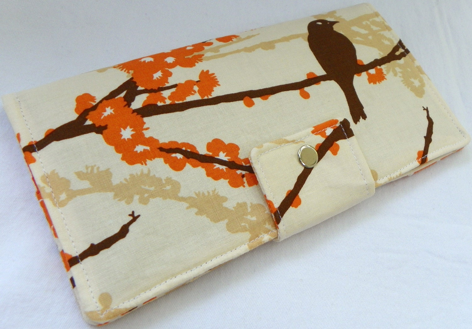 Handmade Long Wallet  BiFold Clutch -Sparrows in almond