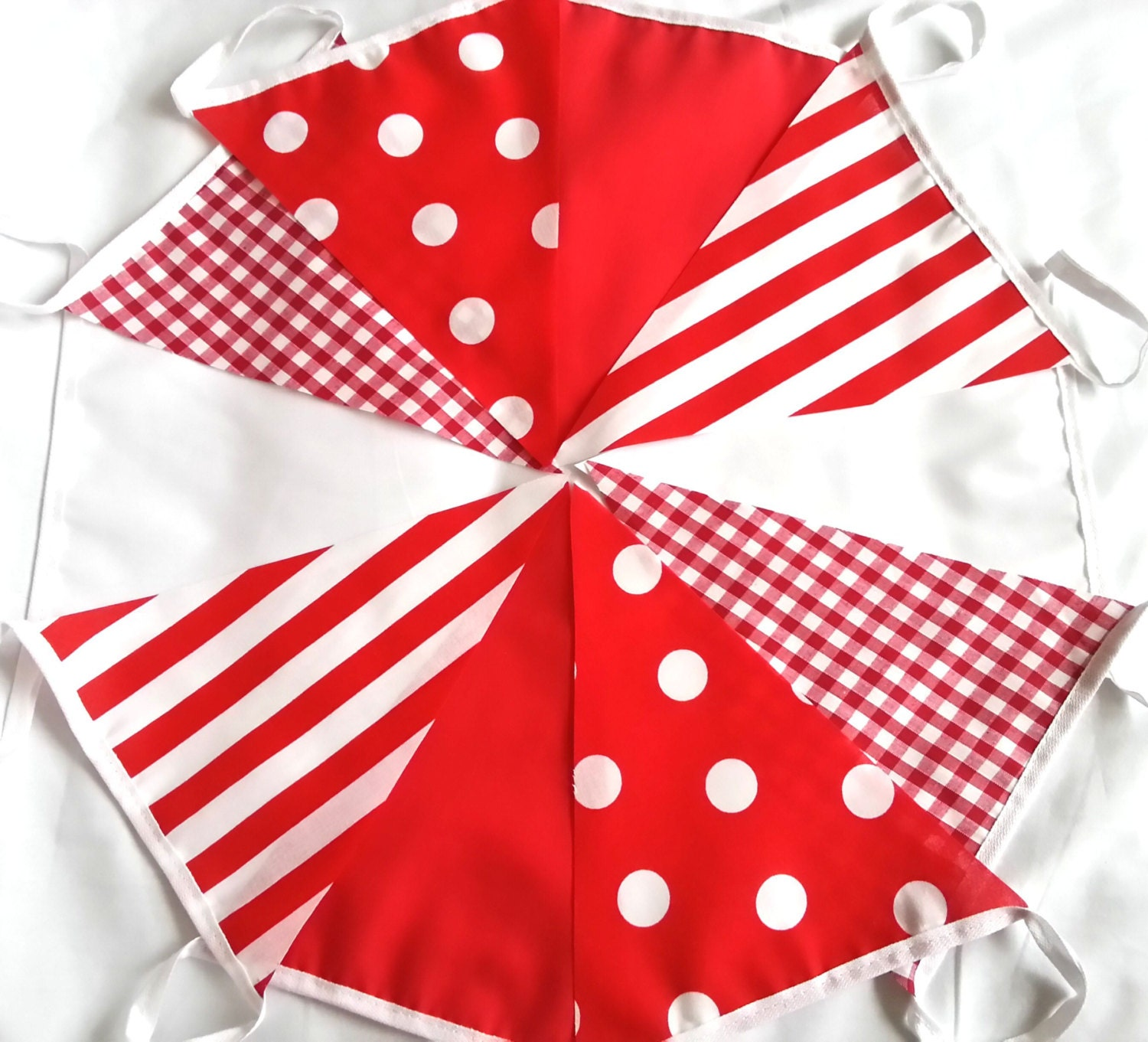 Image of 10ft / 3m Red Candy Christmas Mix Bunting Pennant Garland Gingham Stripe and Spots