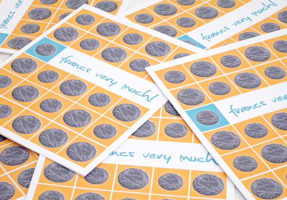 Francs Very Much set of 6 thank you cards and by theRasilisk from etsy.com
