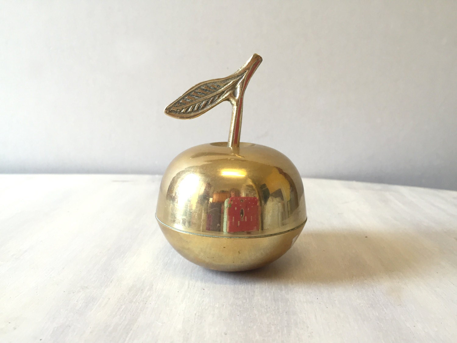 Vintage Brass apple apple decor teacher gift vintage apple brass figurine brass ornament gold apple apple figurine brass home decor