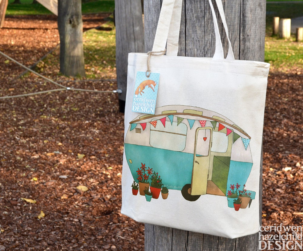 Blue Caravan Tote Bag Ethically Produced Reusable Shopper Bag Cotton Tote Shopping Bag Eco Tote Bag