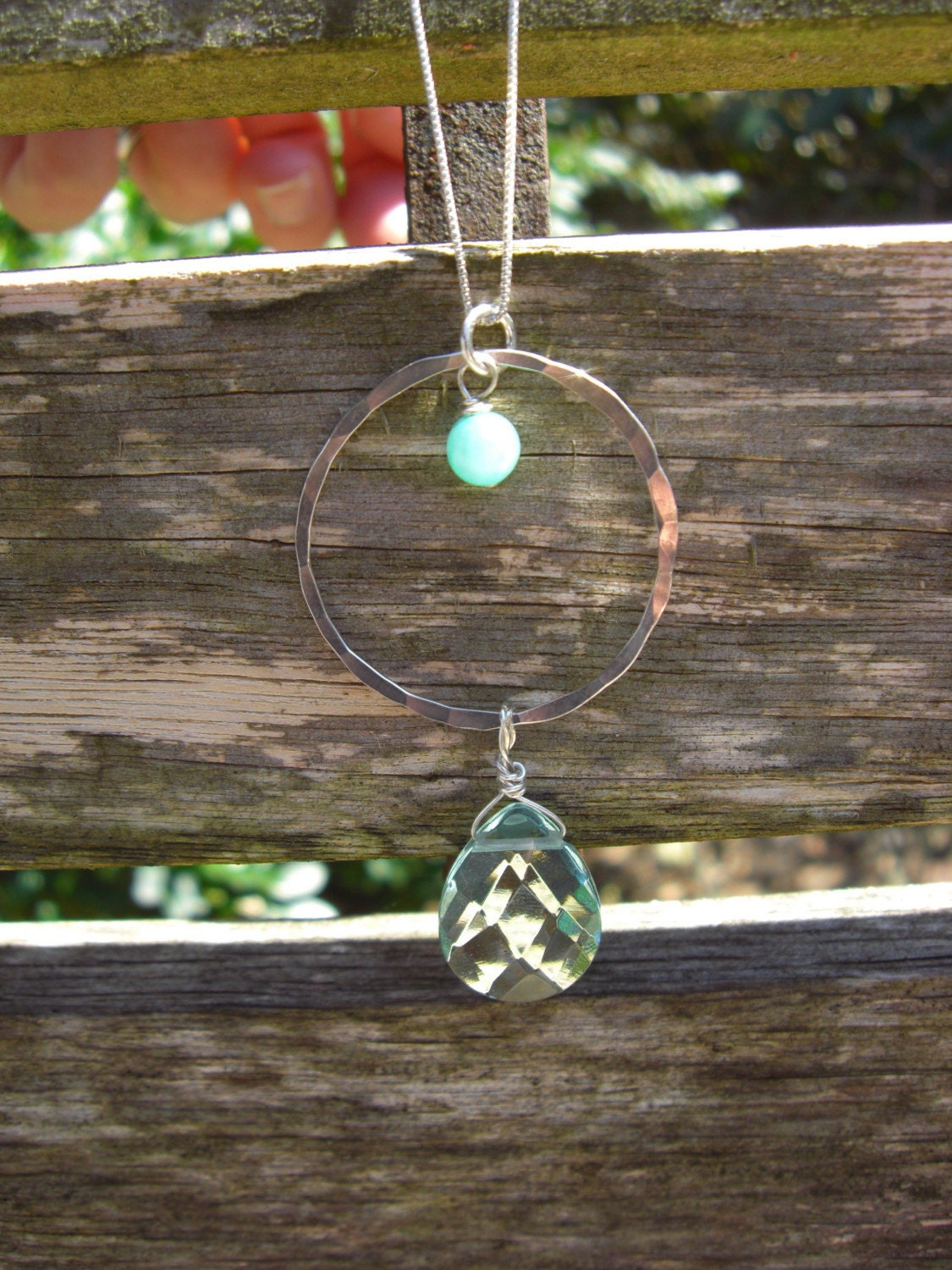 OCEANIA NECKLACE, FACETED AQUA QUARTZ, HAMMERED SILVER, HEMIMORPHITE
