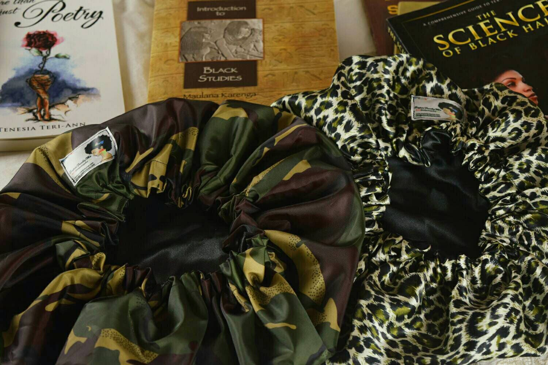 Khaki Camo Shower Cap and Satin Bonnet SetBig HairNatural hairsilky bonnetSleep capAfricanHair AccessoryHeadscarf Hair Care
