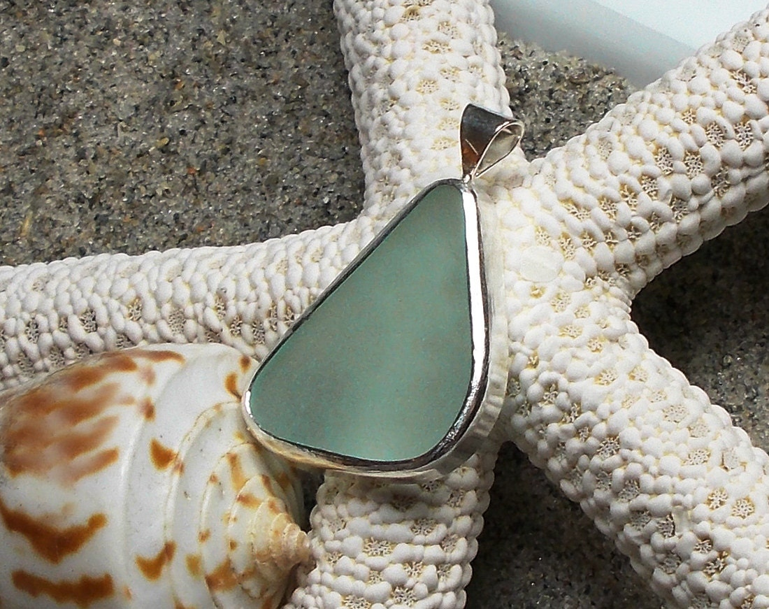 Sea Glass Pendant, Aqua Beach Glass, Melbourne Florida Beach Glass, Ocean Blue - GoddessStoneJewelry
