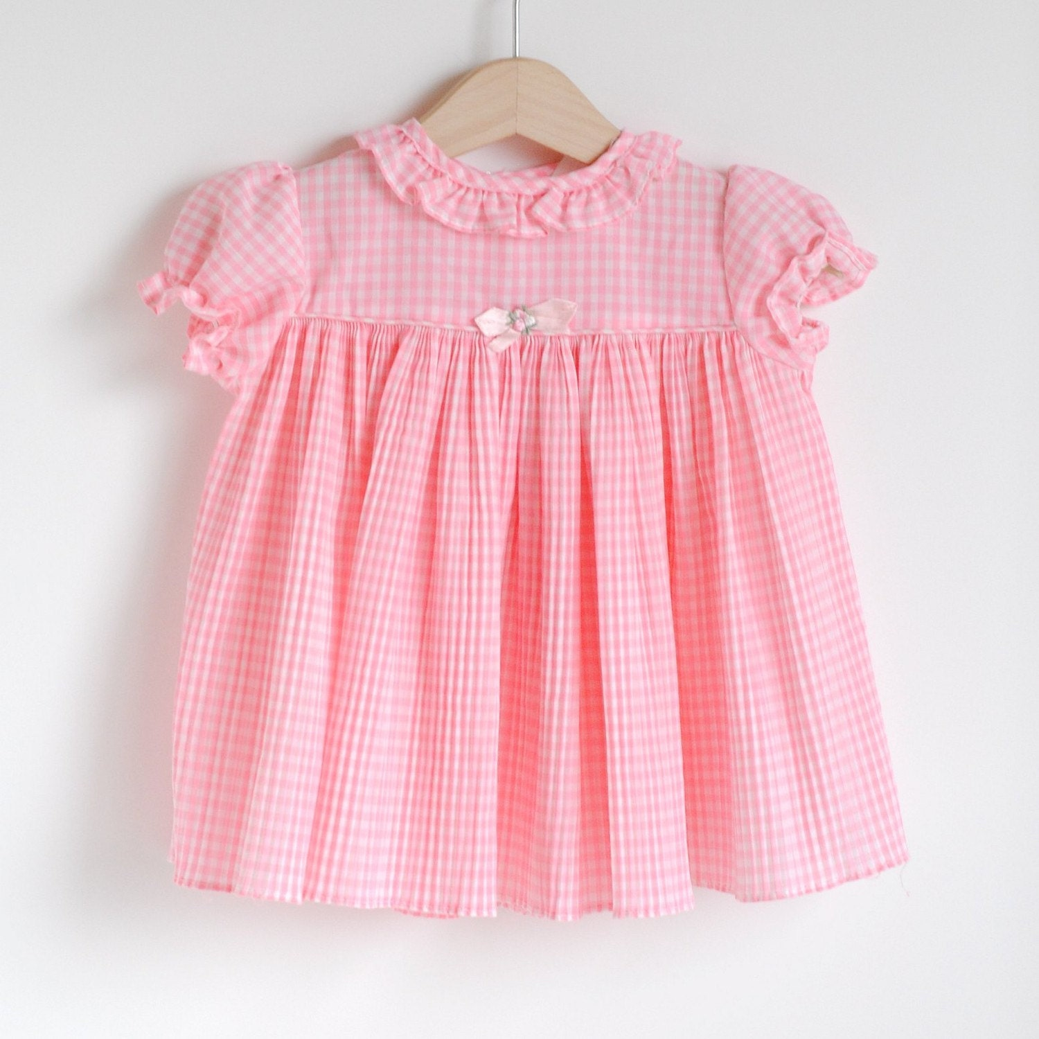 Vintage Toddler Pink GINGHAM Pleated Dress (12m)