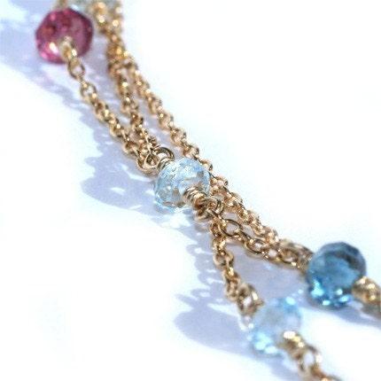 Olivia III Necklace ... Sky Blue and London Blue Topaz, Rhodolite Garnet