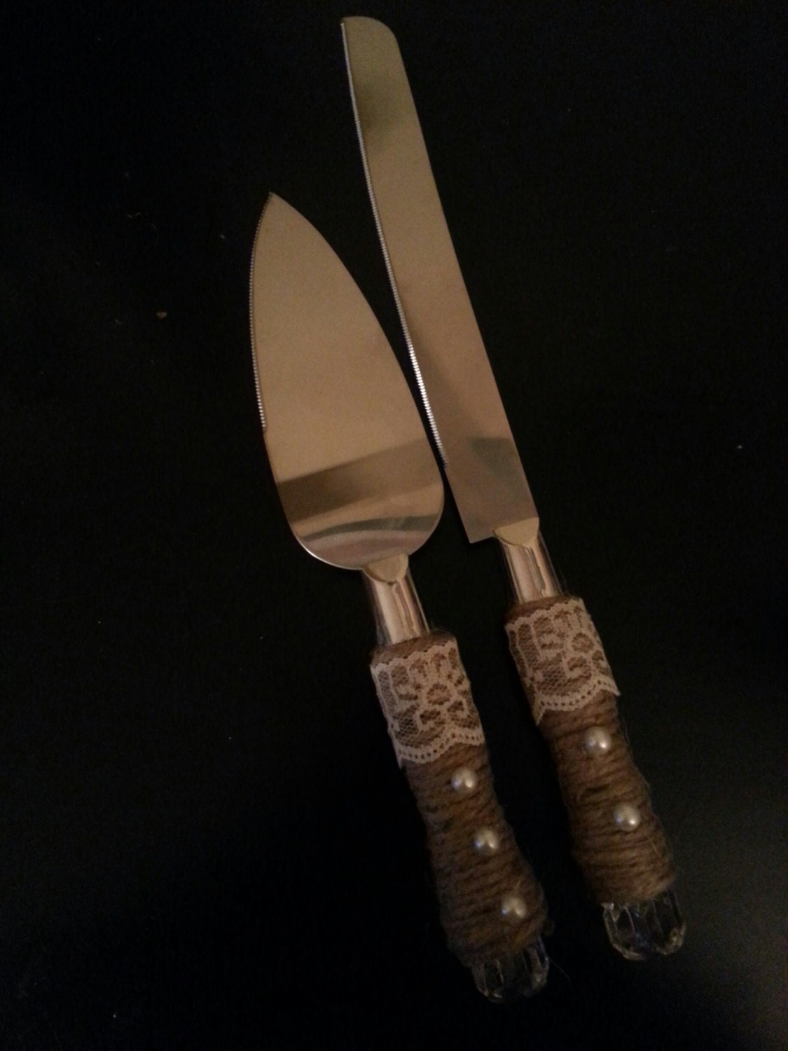 Rustic Wedding Cake Cutter And Server Set By RusticWeddingsRUs