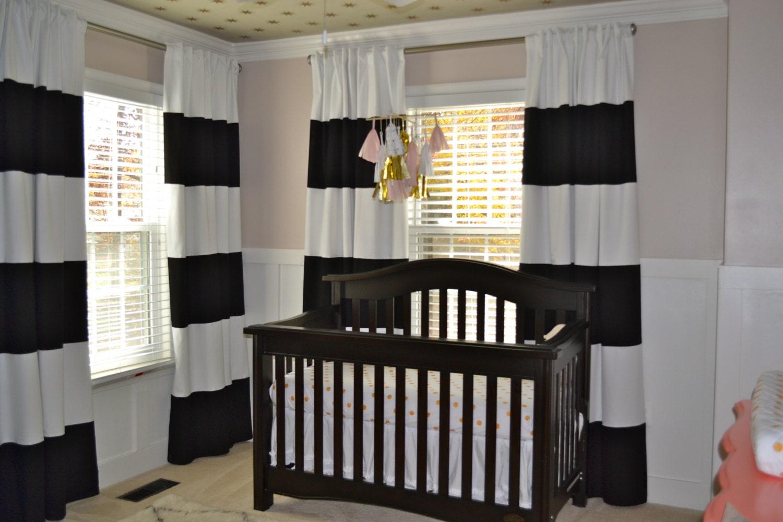 Black white horizontal striped curtains 2