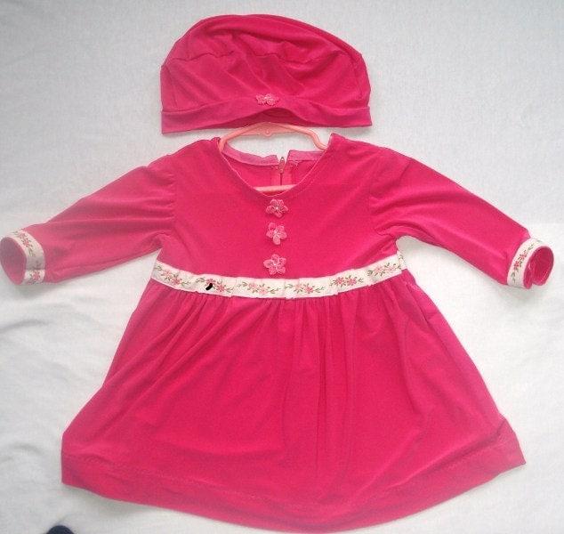 9 to 12 mo Raspberry Sherbet Dress, Matching Beret - kolorfulkidlets