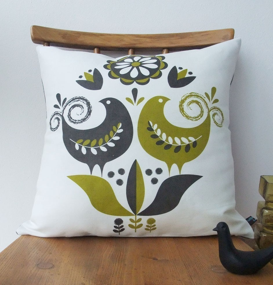 Happy birds cushion in olive and grey on white linen