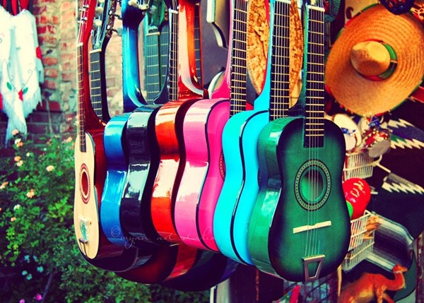 las guitarras. los angeles photograph - rainbow spanish guitars - music - vibrant - latin inspired - 5x7 fine art print