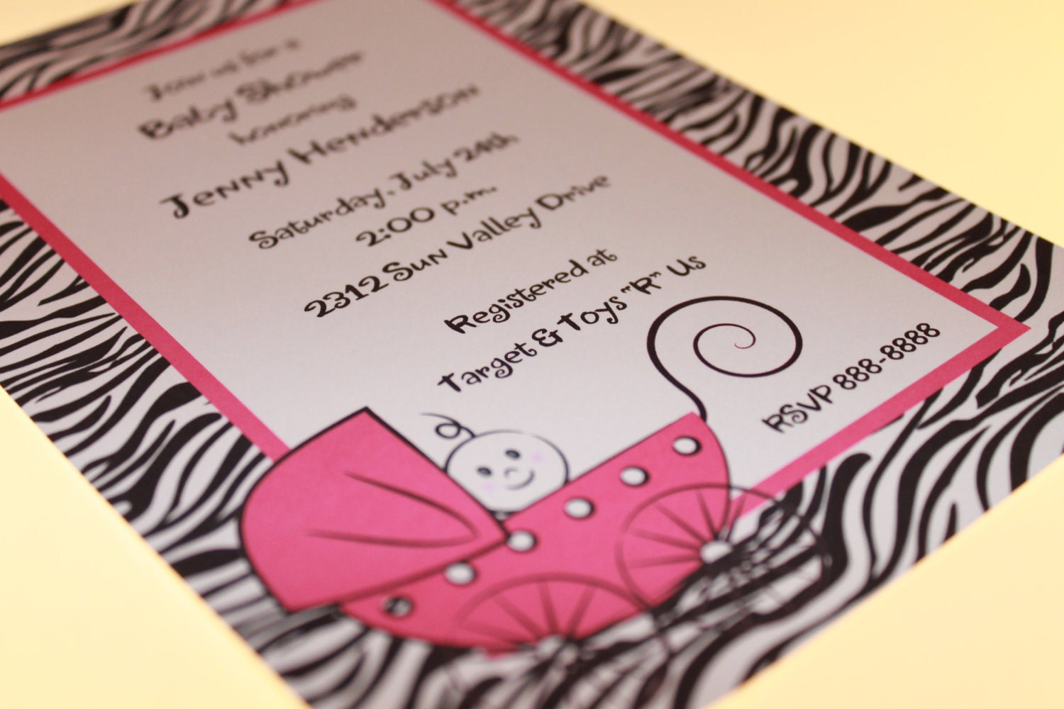 zebra print baby shower invitations in any color by pmcinvitations