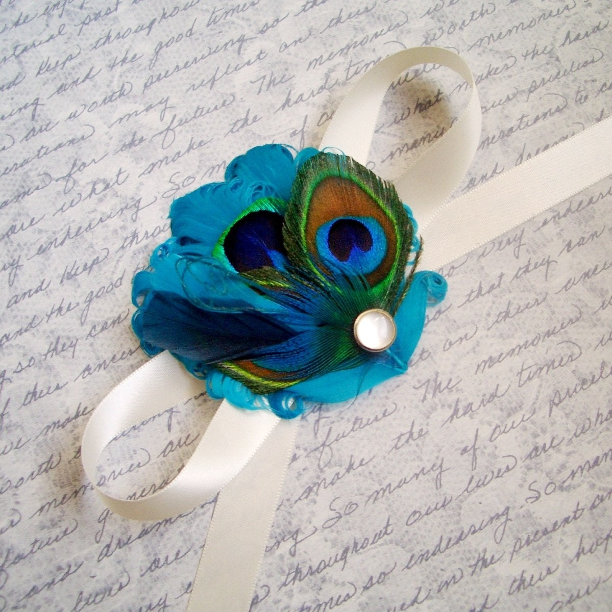 TUSCANY - Turquoise and Peacock Wrist Corsage - Made to Order