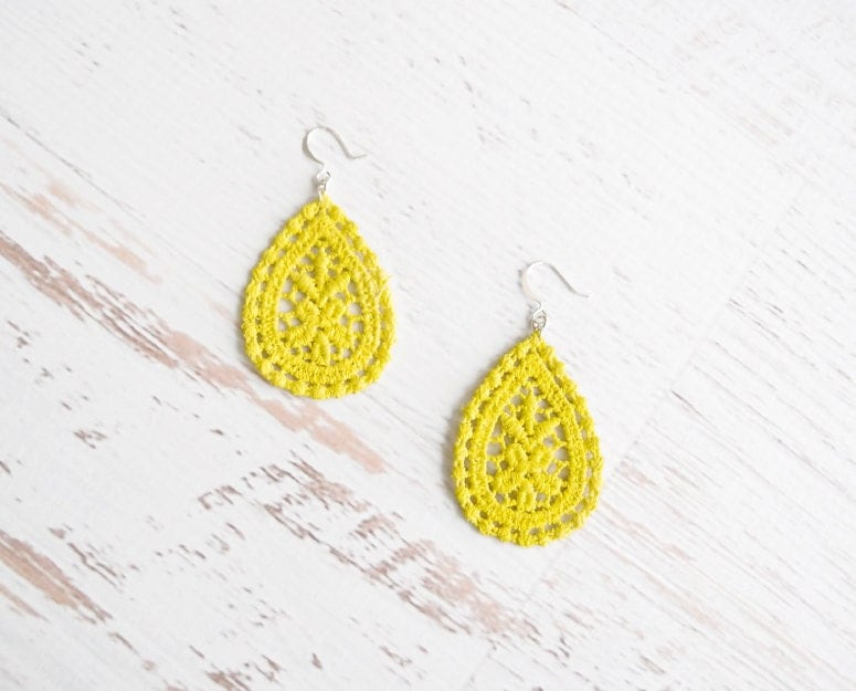 Neon Lace Earrings - Amaya - Summer Neon Yellow Lace Earrings - Chartreuse Lemon Lime Jewelry - branchbound