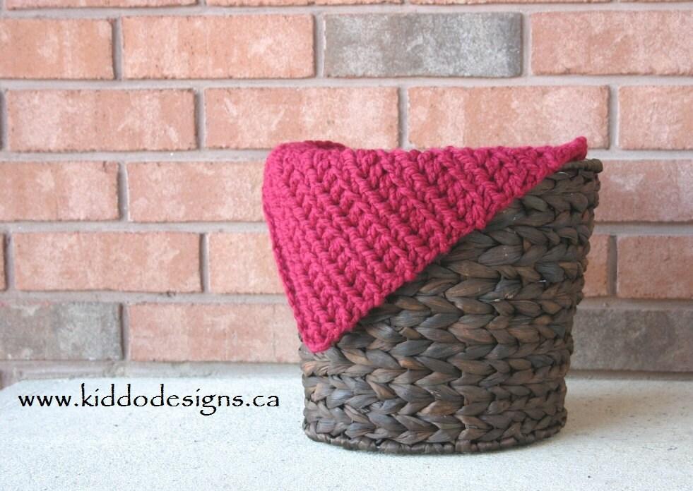 Crochet Mini Blanket Chunky Photo Prop 14 x 17 Cranberry RTS