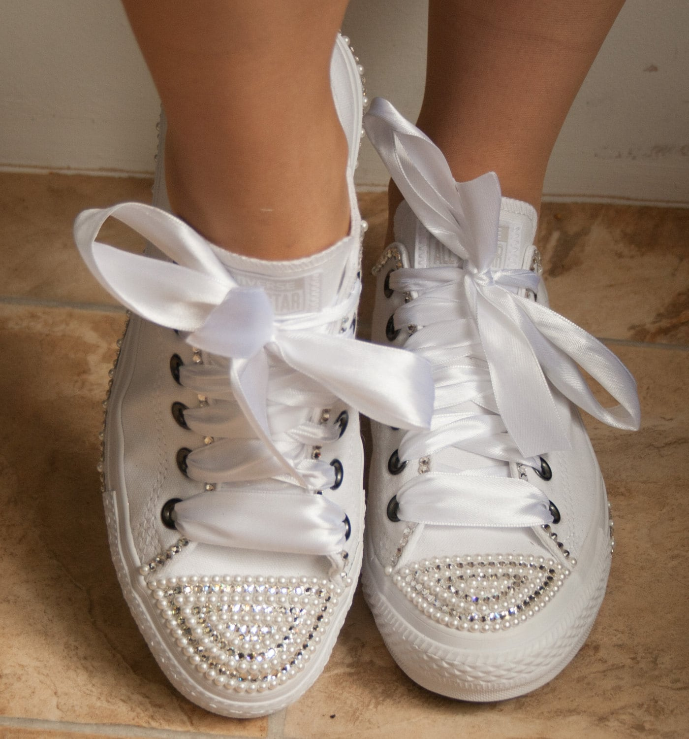 wedding converse trainers with  crystals and pearls. Wedding trainers wedding converse bridal Converse customized wedding converse