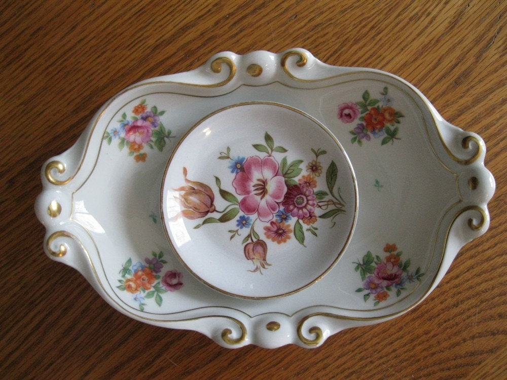 vintage Shabby Chic White Porcelain Painted Floral Trinket Dish Set