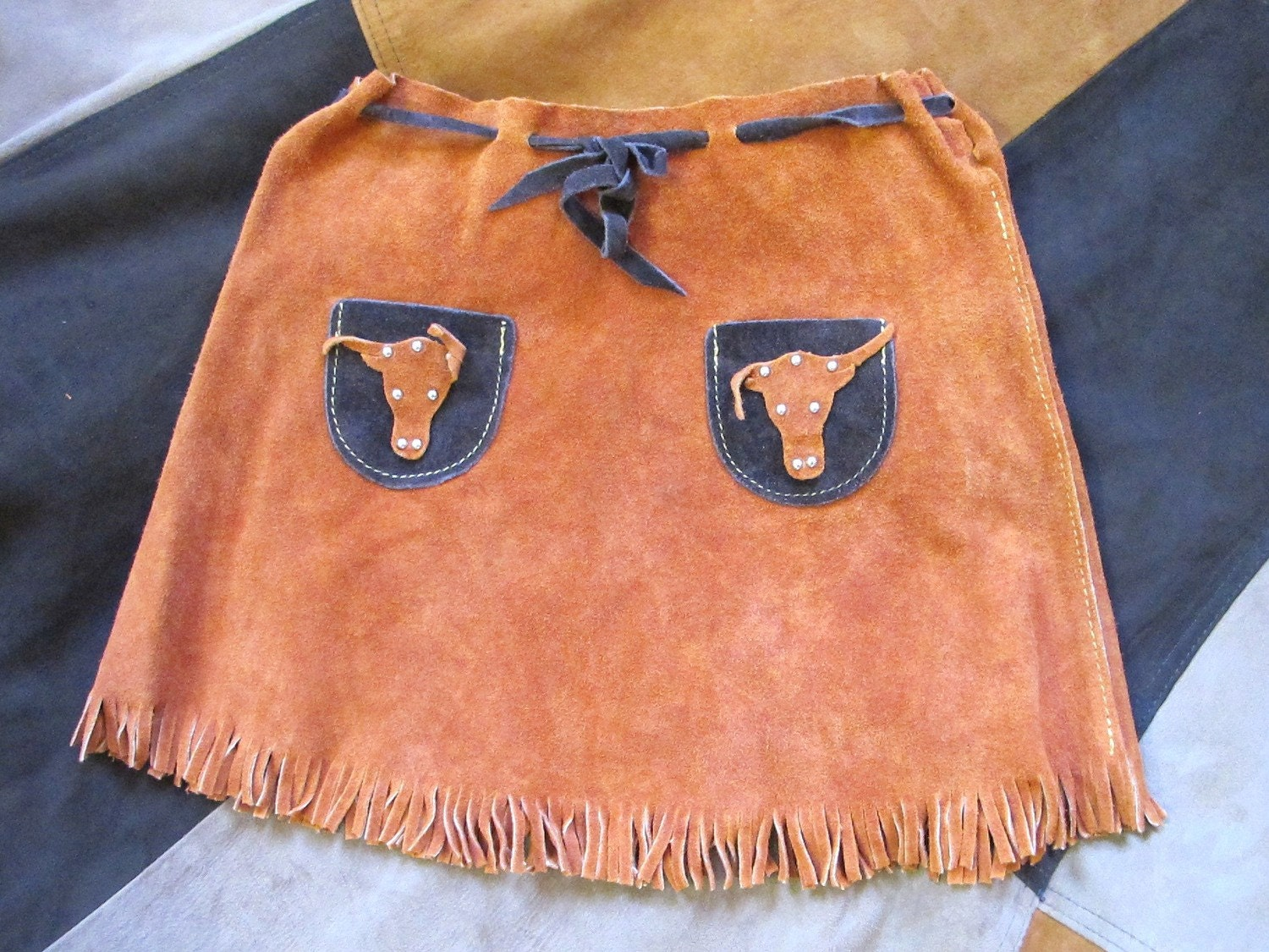 Ride 'em COWGIRL Girls Suede Leather Fringe Skirt 5 6 7