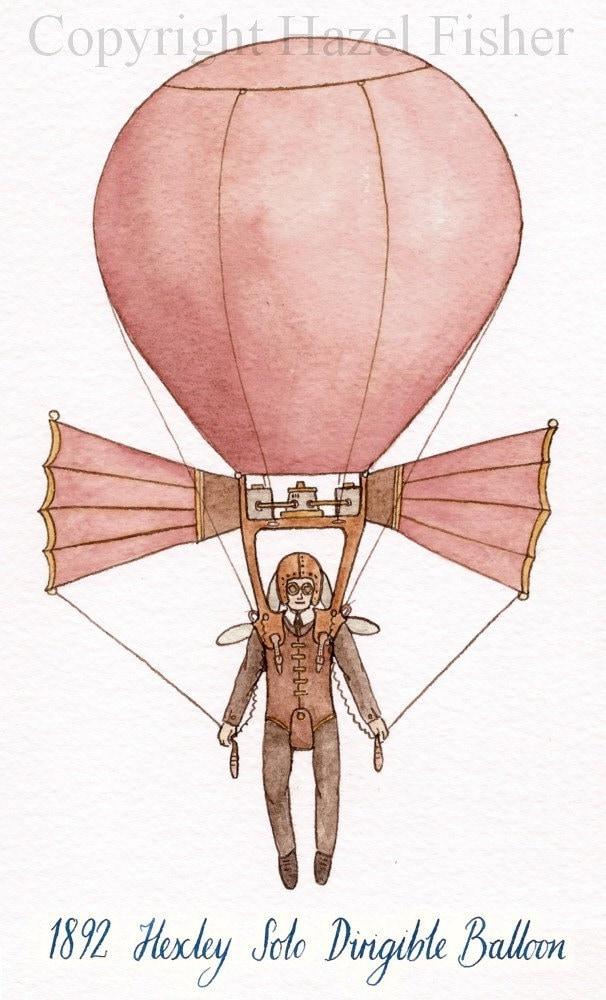 Hexley Solo Dirigible Balloon - 5x7 Open Edition Print