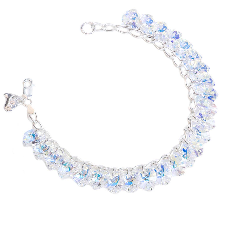 AB Heart to Heart Sterling Silver  SWAROVSKI crystal Charm Bracelet