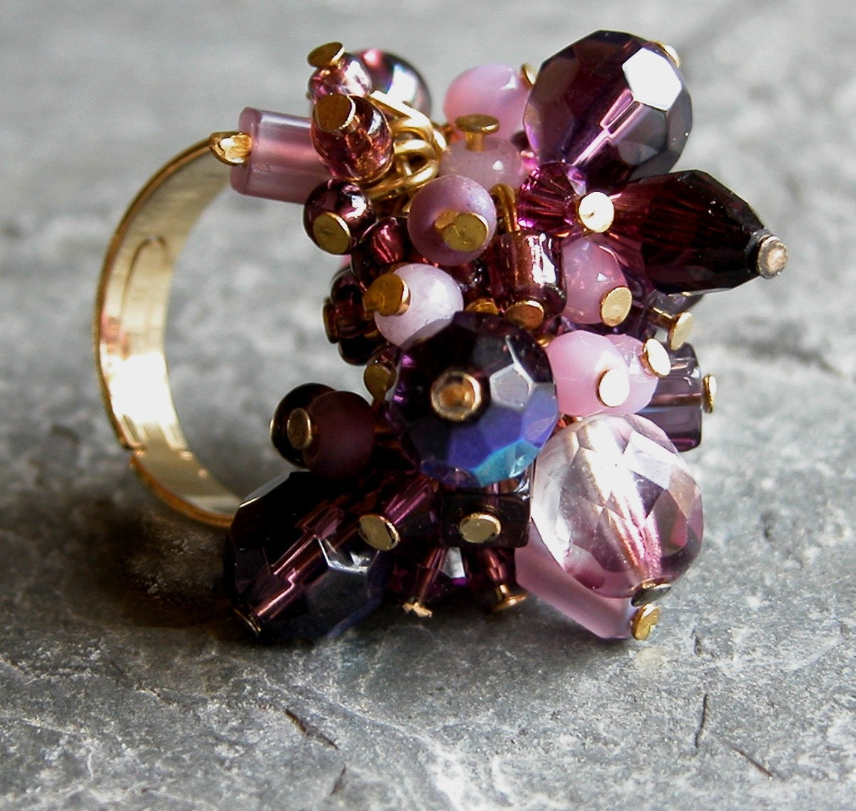 Purple  Haze OOAK Gold Plated Ring with Clear by gazellejewelry