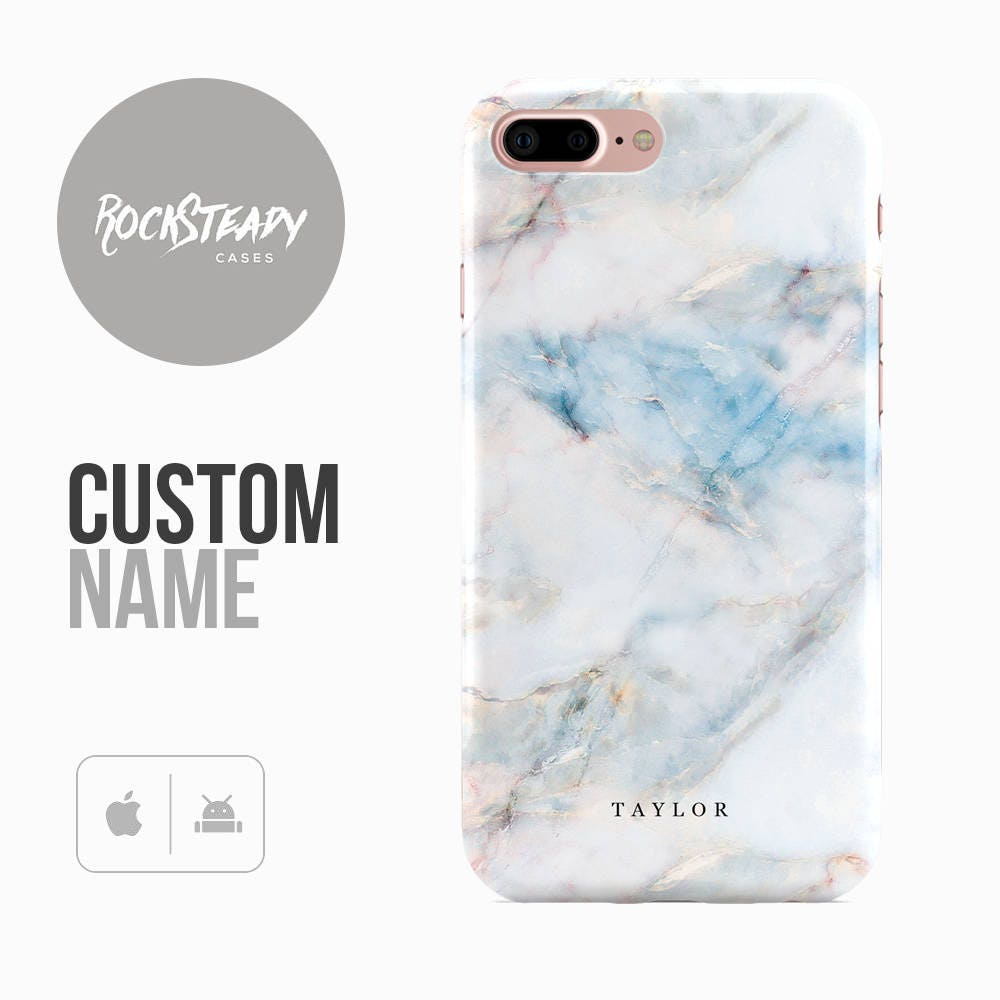 Custom Marble iPhone 7 case 6 6s Plus samsung Galaxy S8 S7  5S SE custom white case personalized S6 S5 monogram initials gift UK