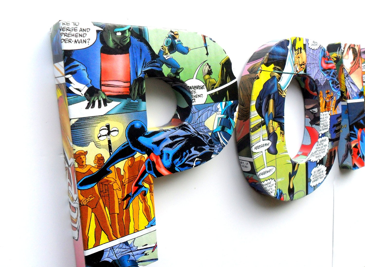 POW Door Sign Mounted Lettering Comic Book Covered Kids Bedroom Decoration Wall Decal Name Plate