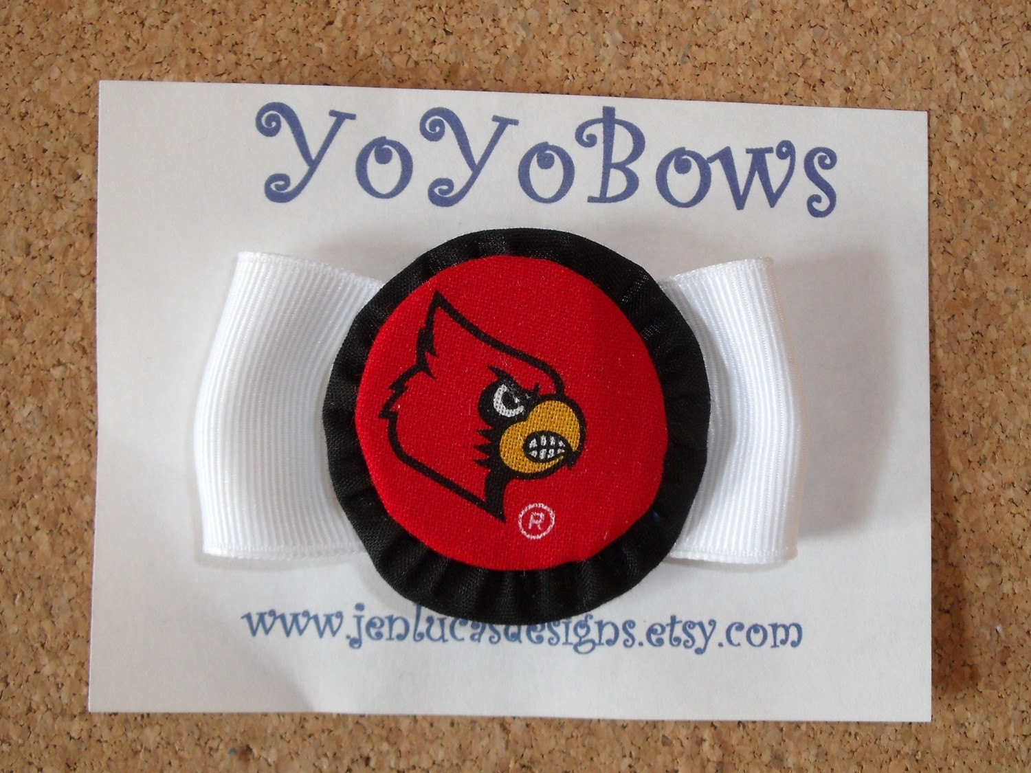 UL Cardinal Team Spirited YoYoBows on white ribbon FREE SHIPPING