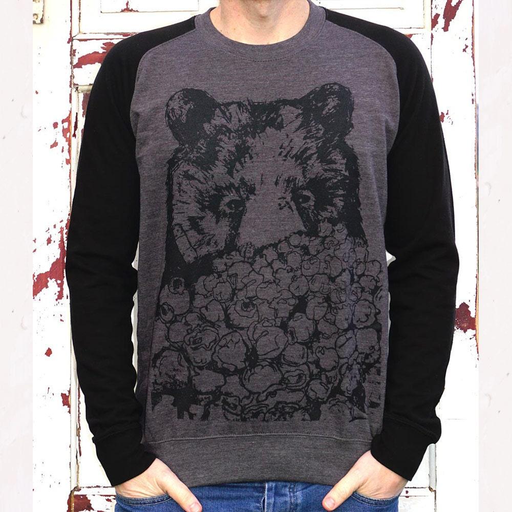 Popcorn Bear Jumper  Bear Sweater black bear animal baseball style sweater popcorn movie black bear