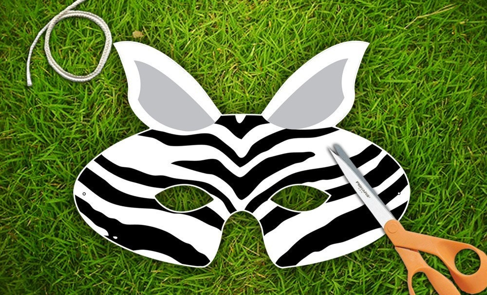 Zebra Halloween or Party Mask  Printable PDF by theRasilisk from etsy.com