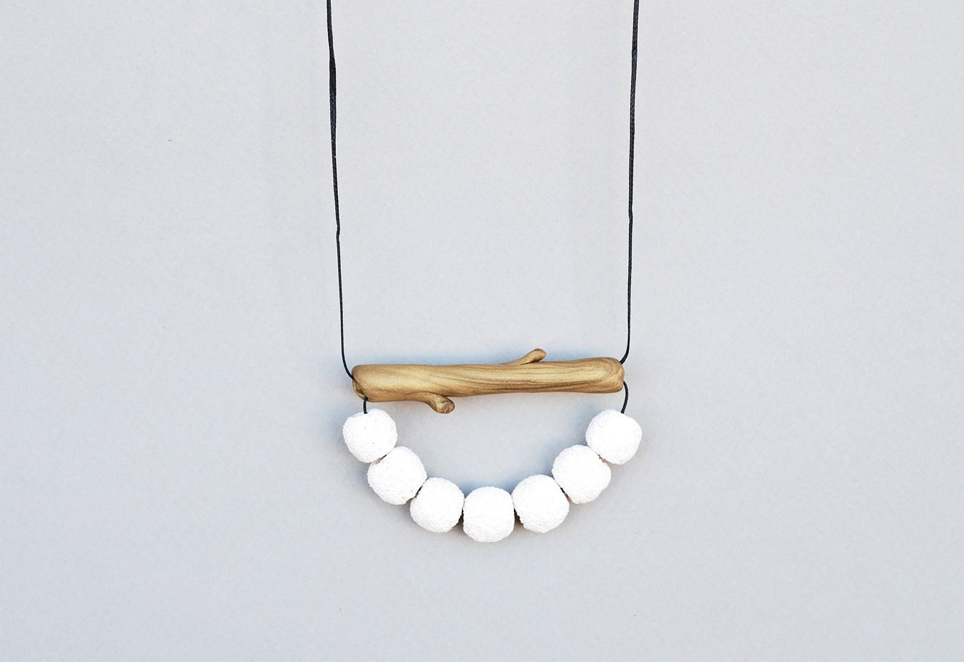 Branch White Coral Necklace / White and Gold Necklace / Golden Tube  Necklace - JullMade