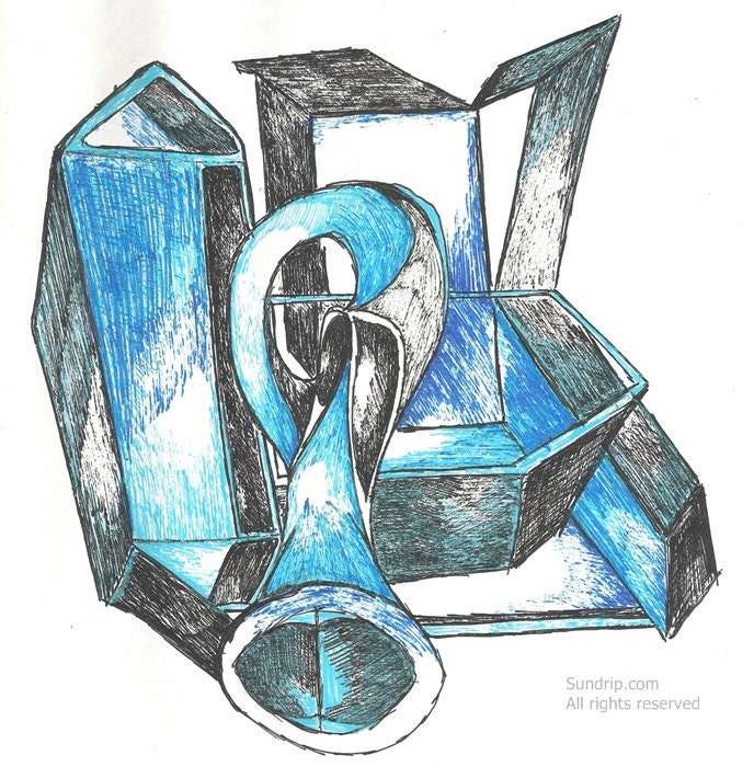 Blue Horn Ink Drawing Black and Blue Abstract