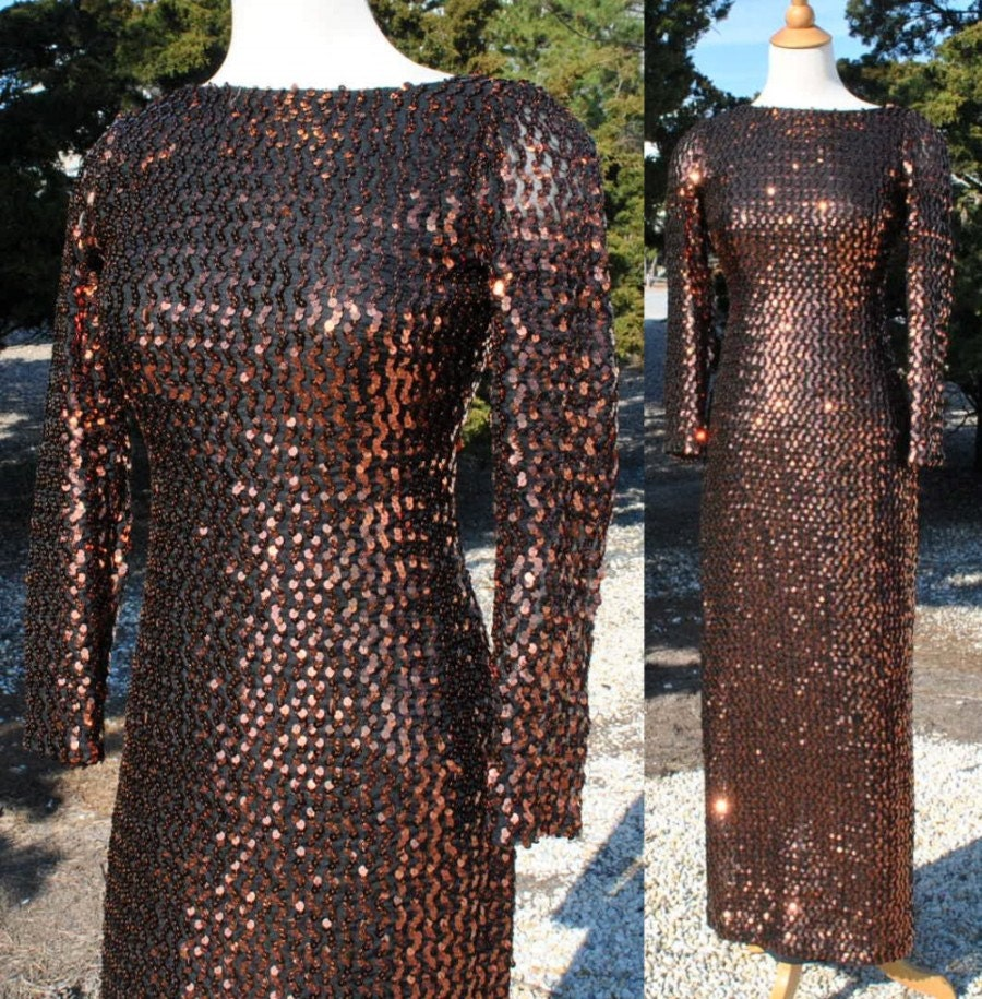 ON SALE...Vintage 1980s Long Sequin Party Dress in Copper, Backless...ON SALe