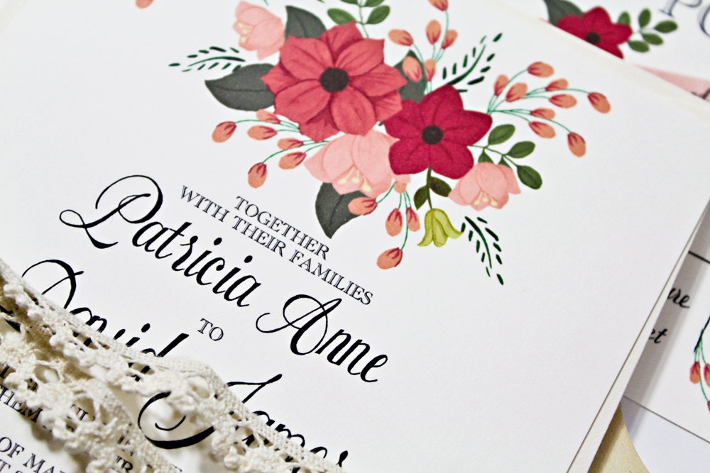 Hand Painted Floral Wedding Invite in Pink: Qty100 Wedding Invitation & RSVP cards with envelopes 3.60ea - BeholdDesignz