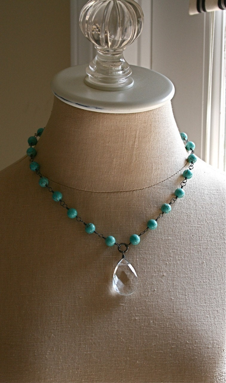 Turquoise and Crystal Quartz Necklace by BlossomJewelry on Etsy from etsy.com