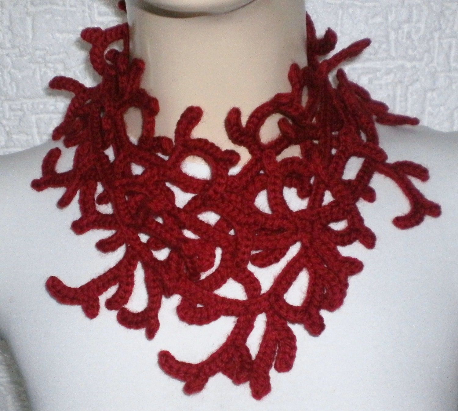 On Sale. HAND MADE. Valentine SCarf. Christmas crochet scarf. RED scarf . Long lariat scarf.