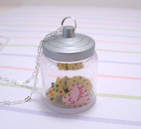 Cookie Jar With Miniature Cookies Necklace