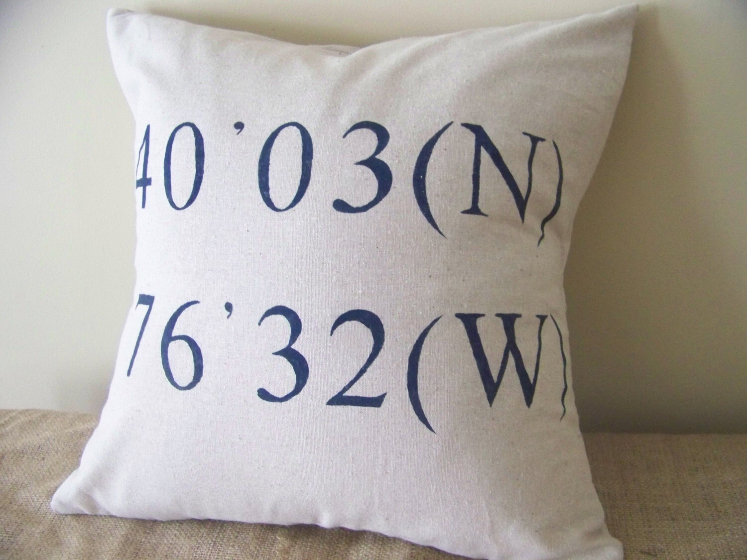coordinates pillow in navy blue