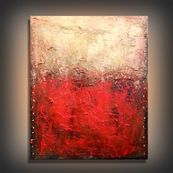 Etsy Green And Red Abstract Painting