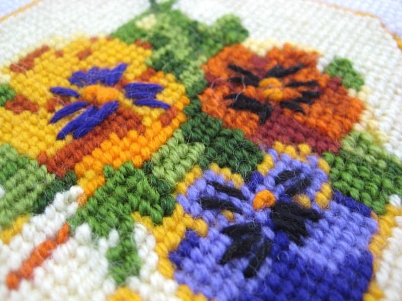 Vintage Needlepoint Pansy Coasters by WaveSong on Etsy
