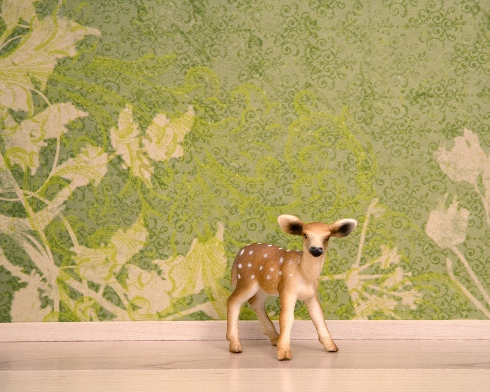 "Deer Print - ""Little Hooves"" an 8 x 10 forest green fine art print of a young deer in a woodland interior."