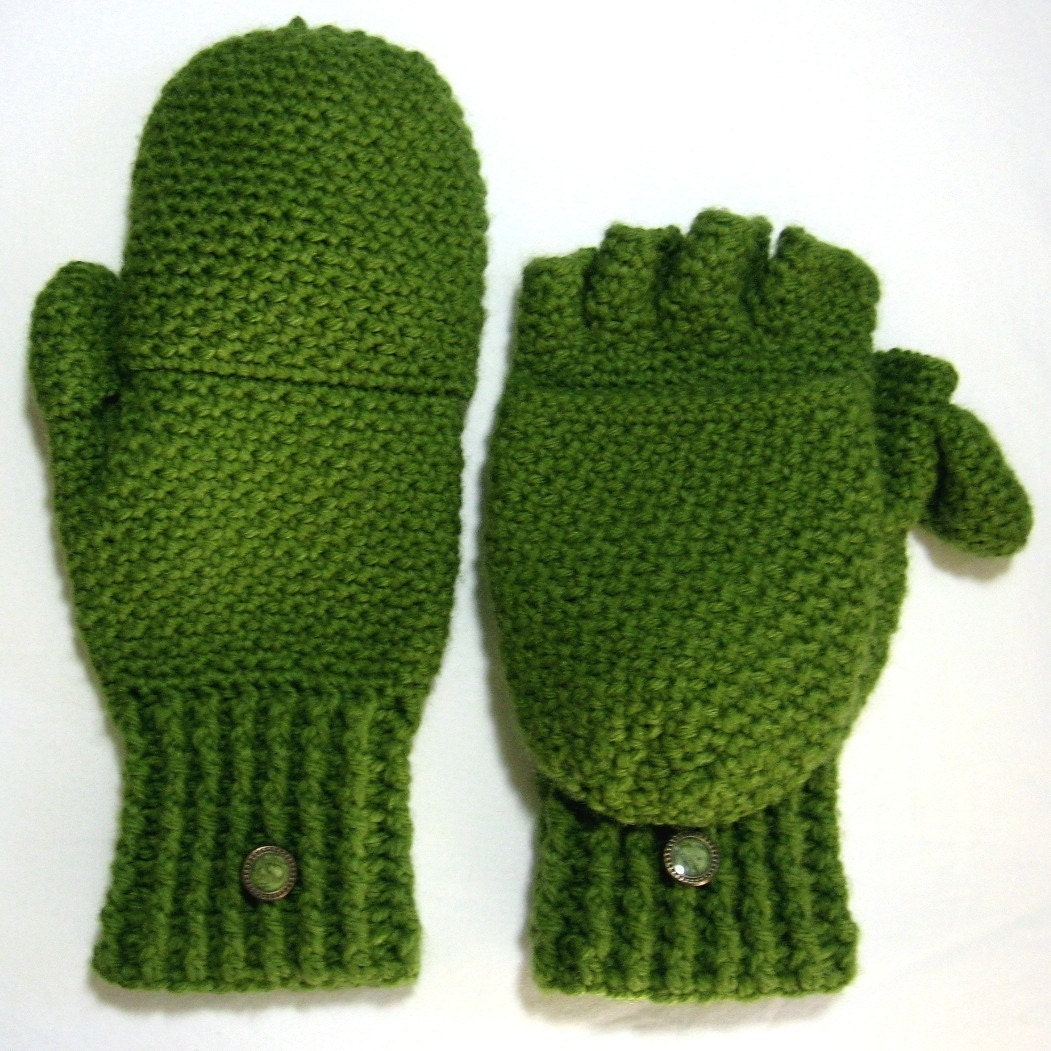 Convertible Fingerless Gloves Mittens with Thumb Flaps,  Made To Order,  Many Colors Available