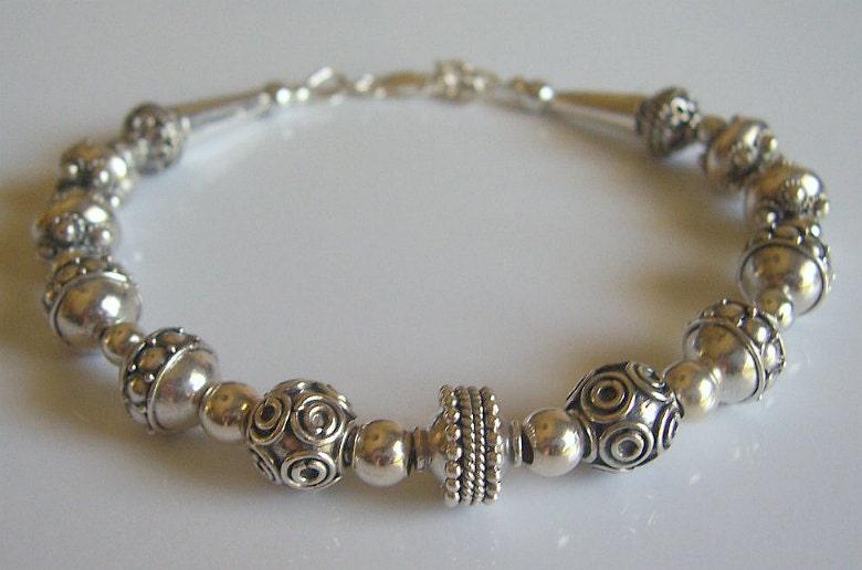 Bali bead sterling silver bracelet