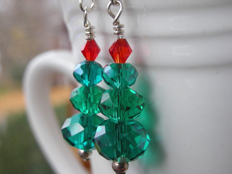 Sterling Silver Crystal Christmas Tree Earrings