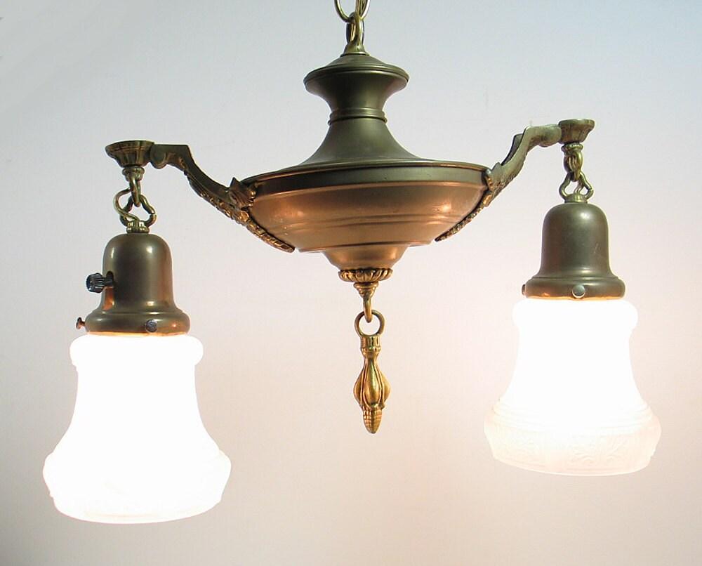 Antique Art Deco Brass Ceiling Light Hanging Lamp Fixture Glass Shade Chandel