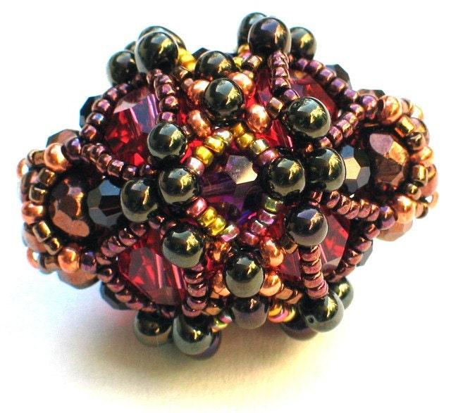 Time Machine Beaded Bead -- Copper Blush Swarovki Crystal